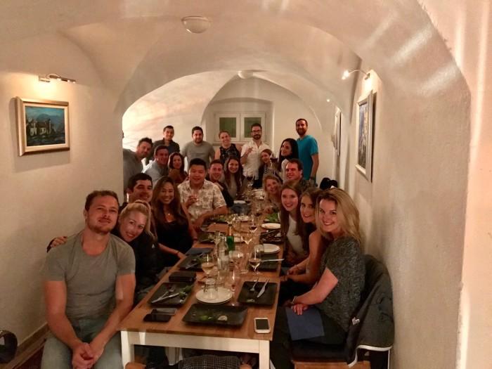 Group dinner in Dubrovnik